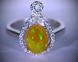 Opal Infinity Ring 1.49ct Platinum Finish Solid 925 Sterling Silver Ring, N