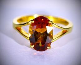 Orange Tourmaline 3.25ct Solid 22K Yellow Gold Ring