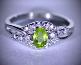Peridot .57ct Platinum Finish Solid 925 Sterling Silver Ring