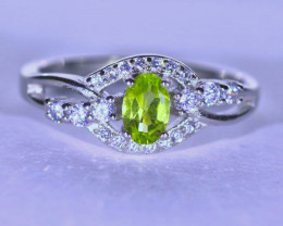Peridot .70ct Platinum Finish Solid 925 Sterling Silver Ring