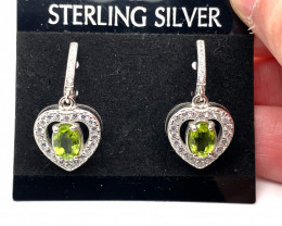Peridot 2.12ct Platinum Finish Solid 925 Sterling Silver Earrings