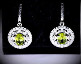 Peridot 3.60ct White Gold Finish Solid 925 Sterling Silver Earrings