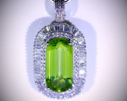 Peridot 15.04ct Diamonds 2.18ct Solid 950 Platinum Pendant, Certified, Natu