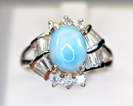 Natural blue Larimar , CZ 925 Silver Ring