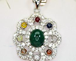 Natural Precious 2.94Ct Carat Emerald ,WZ Mix Stone 925 Silver Pendant