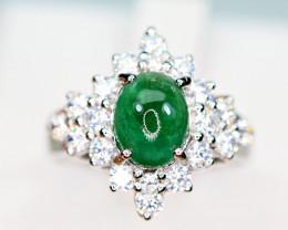 Natural Precious Top Green Color 1.26 Carat Emerald,CZ 925 Silver Ring