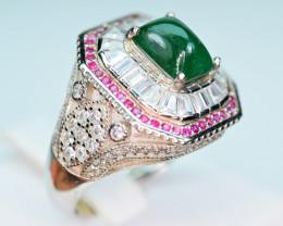 Natural Precious Top Green Color 2 Carat Emerald,CZ 925 Silver Ring