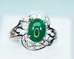 Natural Precious Top Green Color Emerald,2 Pis small CZ 925 Silver Ring
