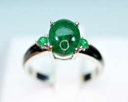 Natural Precious Top Green Color 3  Pieces Emerald , CZ 925 Silver Ring