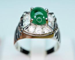 Natural Precious Top Green Color 2.2 Carat Emerald, CZ 925 Silver Ring