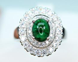 Natural Precious Top Green Color Emerald , Enough CZ 925 Silver Nice Ring