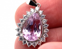Pink Kunzite 5.65ct White Gold Finish Solid 925 Silver Pendant