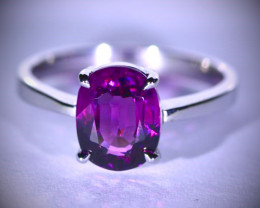 Pink Purple Spinel 2.10ct Solid 14K White Gold Ring