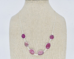 RUBY NECKLACE NATURAL GEM 925 STERLING SILVER JN163