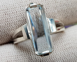 Natural Blue Aquamarine 24.70 Carats 925 Hand Made Silver Ring