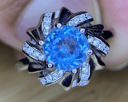 Natural Swiss blue topaz Ring with CZ: