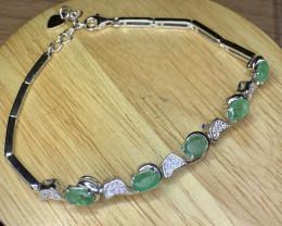 Natural Brazilian Emerald with CZ Bracelet TCW 7.4.