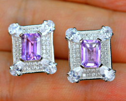 Natural Amethyst , Enough CZ 925 Silver Nice Earrings