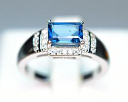 Natural Brilliant london blue Topaz ,CZ 925 Silver Amazing Design Ring