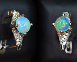 Natural Top Fire Opal, Enough CZ 925 Silver Nice Earrings