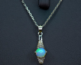 Natural Top Opal , CZ 925 Silver with full Chain  Pendant