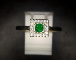 11.05 Crts Natural Emerald Ring In Rhodium Coated 92.5 Silver & CZ