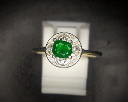 9.42 Crts Natural Emerald Ring In Rhodium Coated 92.5 Silver & CZ