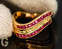 Presenting Marvelous 18 K Gold Ring With Natural Burma Ruby & Diamonds
