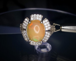 24.05 Crts Opal Ring In Rhodium Coated 92.5 Silver & CZ