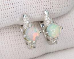 Beautiful Natural Fire Opal, CZ & 925 Fancy Sterling Silver Earring