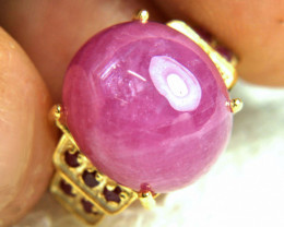33.35 Tcw. Sterling Silver, Gold Plated, Pink Ruby Ring - Size 6