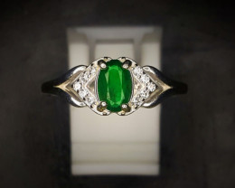10.55 Crts Natural Emerald Ring In Rhodium Coated 92.5 Silver & Cz