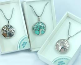 Three Gift boxed Tree Of Life Gemstone Pendants Code TOLPEN3-4