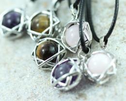 Eight six star gemstone pendants code AHA 454