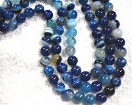 1103 Tcw. Three Strand Blue Onyx Necklace - Gorgeous