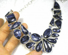 423.0 Tcw. Sterling Silver Necklace with Blue Pietersite - Gorgeous