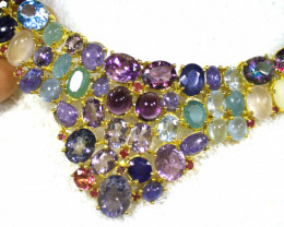 433.0 Tcw. Gold Plated Silver Necklace with Zircon, Amethyst, Prehnite, Eme