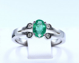 MESMERIZING NATURAL EMERALD and Diamonds in 18K White Gold