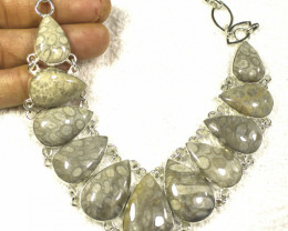 445.5 Tcw. Sterling Silver, Fossil Coral Necklace - Gorgeous