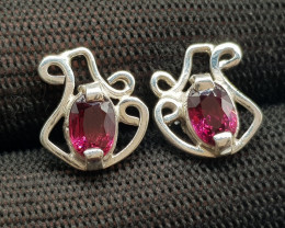 Natural Rhodolite Garnet 15.10 Carats 925 Hand Made Silver Earrings