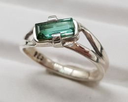 Natural Indicolite Tourmaline 15.50 Carats 925 Hand Made Silver Ring