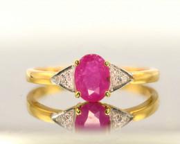 DYNAMIC RUBY & DIAMONDS IN 18K GOLD RING SIZE 7.8