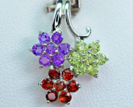 Natural 21 Pis Mix Multi Stones 925 Silver Nice Pendant