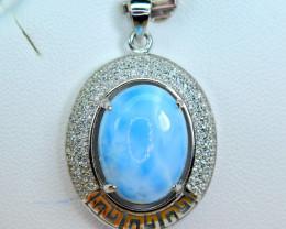Natural Blue Larimar  ,CZ 925 Silver Nice Huge Pendant