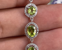 Natural Peridot Bracelet With CZ in 925 silver