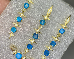Natural Apatite with CZ Jewelry set gold plated.