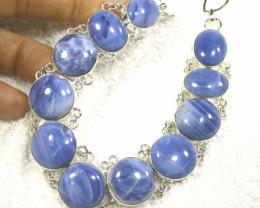 388.0 Tcw. Sterling Silver, Australian Blue Opal Necklace - Gorgeous