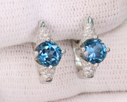 Attractive Natural London Topaz, CZ & 925 Fancy  Sterling  Silver Earring