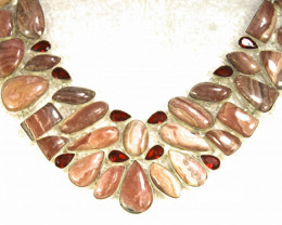 487.5 Tcw. Sterling Silver Rhodochrosite Necklace - Gorgeous