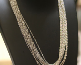 Ten Dual Curb  chain necklace- Silver   Electformed Stainless steel CMT 272